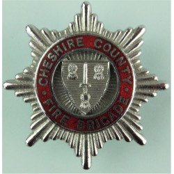 Cheshire County Fire Brigade Cap Badge Pre-1974  Chrome and enamelled Fire and Rescue Service insignia