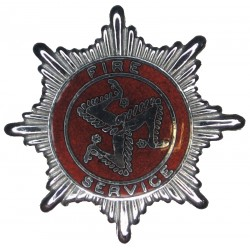Isle Of Man Fire Service Cap Badge  Chrome and enamelled Fire and Rescue Service insignia