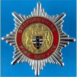Bedfordshire Fire Service: Gilt Centre With Shield Cap Badge Post-1974  Chrome, gilt and enamel Fire and Rescue Service insignia