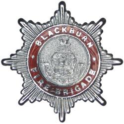 Blackburn Fire Brigade Cap Badge Pre-1974  Chrome and enamelled Fire and Rescue Service insignia