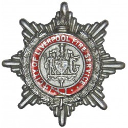 City Of Liverpool Fire Service Cap Badge 1948-1963  Chrome and enamelled Fire and Rescue Service insignia