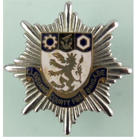 Cleveland County Fire Brigade Cap Badge Post-1974  Chrome, gilt and enamel Fire and Rescue Service insignia