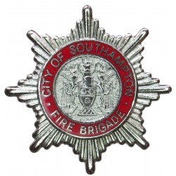 City Of Southampton Fire Brigade (Red Ring) Cap Badge 1964-1974  Chrome and enamelled Fire and Rescue Service insignia
