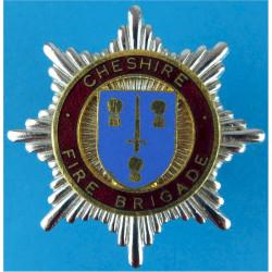 Cheshire Fire Brigade Cap Badge Post-1974  Chrome, gilt and enamel Fire and Rescue Service insignia