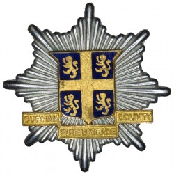 Durham County Fire Brigade Cap Badge 1948-1969  Chrome, gilt and enamel Fire and Rescue Service insignia