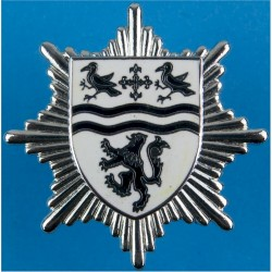 County Of Clwyd Fire Service Cap Badge 1974-1996  Chrome and enamelled Fire and Rescue Service insignia