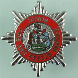 Devon Fire And Rescue Service Cap Badge  Chrome and enamelled Fire and Rescue Service insignia