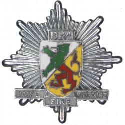 Denbighshire & Montgomeryshire Joint Fire Service Cap Badge Pre-1974  Chrome and enamelled Fire and Rescue Service insignia