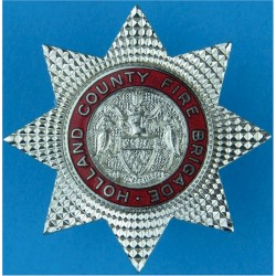 Holland County Fire Brigade (Lincoln) Crest Centre Cap Badge Pre-1974  Chrome and enamelled Fire and Rescue Service insignia