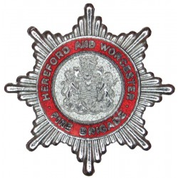 Hereford And Worcester Fire Brigade - Crest Centre Cap Badge Post-1974  Chrome and enamelled Fire and Rescue Service insignia