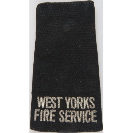West Yorks / Fire Service - Slip-On Shoulder Slide Silver On Navy Blue  Lurex Fire and Rescue Service insignia
