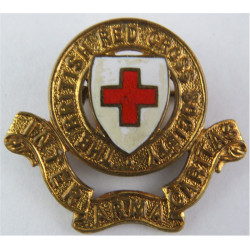 British Red Cross Society - With Red & White Enamel Cap Badge  Gilt and enamel Ambulance Insignia