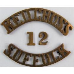 Red Cross / 12 / Suffolk Shoulder Title  Brass Ambulance Insignia