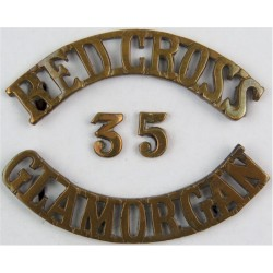 Red Cross / 35 / Glamorgan Shoulder Title  Brass Ambulance Insignia