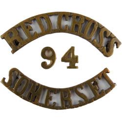 Red Cross / 94 /Somerset (Weston Super Mare) Shoulder Title  Brass Ambulance Insignia