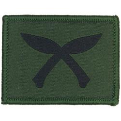 Gurkha Troops (Crossed Black Kukris On Olive) Merrowed Edge  Woven Regimental cloth arm badge
