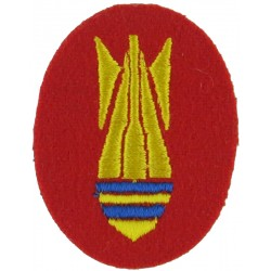 Royal Engineers Bomb Disposal Battle Honour Badge Yellow On Red Small  Embroidered Regimental cloth arm badge