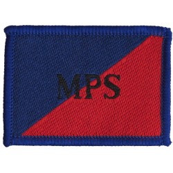 Adjutant General's Corps (Military Provost Staff) Black MPS On Red/Blu  Woven Regimental cloth arm badge