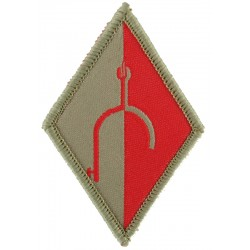 Royal Wessex Yeomanry: RHQ & A Sqn (Dorset Yeomanry) Broken Spur Sand/Red  Woven Regimental cloth arm badge