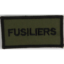 Royal Regt Of Fusiliers: Fusiliers Black On Olive  Embroidered Regimental cloth arm badge