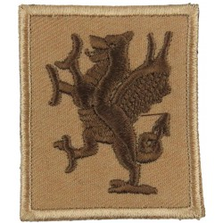 Royal Welch Fusiliers (Rampant Brown Dragon On Sand Rectangle)  Embroidered Regimental cloth arm badge