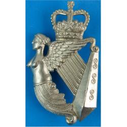 Queen's Royal Irish Hussars NCO's Arm Badge Crowned Harp with Queen Elizabeth's Crown. White Metal Regimental metal arm badge