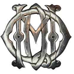 13th/18th Royal Hussars NCO's Armbadge QMO Monogram - Old  White Metal Regimental metal arm badge