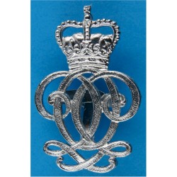 Queen's Own Hussars Senior NCO's Armbadge Crown / QO Cipher with Queen Elizabeth's Crown. Chrome-plated Regimental metal arm bad