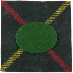 Royal Scots (The Royal Regiment) Tartan + Green Oval 2nd Battalion  Tartan Badge Backing