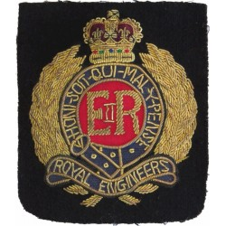 Royal Engineers blazer badge  with Queen Elizabeth's Crown. Bullion wire-embroidered Military Blazer Badge
