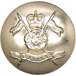 Queen's Own Yorkshire Yeomanry 20mm - Gold Colour with Queen Elizabeth's Crown. Anodised Staybrite military uniform button