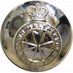 King's Own Malta Regiment 25.5mm - Gold Colour with Queen Elizabeth's Crown. Anodised Staybrite military uniform button