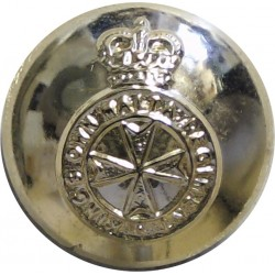 King's Own Malta Regiment 19mm - Gold Colour with Queen Elizabeth's Crown. Anodised Staybrite military uniform button