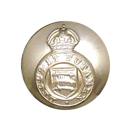 Essex Yeomanry 16.5mm - Gold Colour with King's Crown. Anodised Staybrite military uniform button