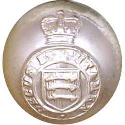 Essex Yeomanry Ball Button 17.5mm - Gold Colour with Queen Elizabeth's Crown. Anodised Staybrite military uniform button