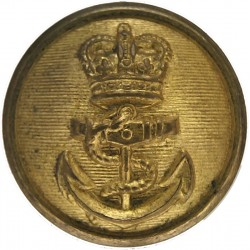 Royal Navy - For Petty Officers Cuff Rank: Plain Rim 23mm (4-Hole Back) with Queen Elizabeth's Crown. Gilt Military uniform butt