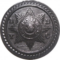 Household Brigade Yacht Club (Roped Rim) 16.5mm - Black with King's Crown. Plastic Military uniform button