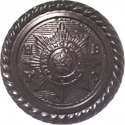 Household Brigade Yacht Club (Roped Rim) 21.5mm - Black with King's Crown. Plastic Military uniform button