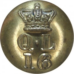 16th Queen's Lancers (Crown Over QL Over 16) 24.5mm - Pre-1901 with Queen Victoria's Crown. Brass Military uniform button