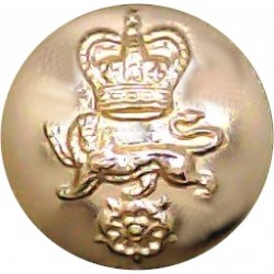 King's Own Royal Regiment (Lancaster) 14mm - Gold Colour with Queen Elizabeth's Crown. Anodised Staybrite military uniform butto