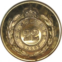 22nd Punjabis (Indian Army) 19mm - 1903-1922 with King's Crown. Gilt Military uniform button
