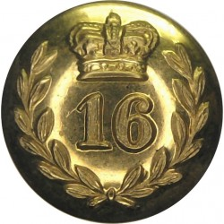 16th (Bedfordshire) Regiment Of Foot Officers Coatee 17mm - Pre-1855 with Queen Victoria's Crown. Brass Military uniform button