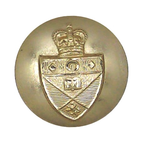 Military Provost Staff Corps 25.5mm - Gold Colour with Queen Elizabeth's Crown. Anodised Staybrite military uniform button