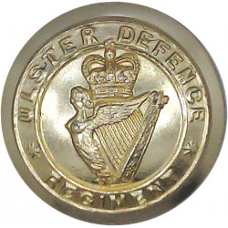 Ulster Defence Regiment 26mm - Gold Colour with Queen Elizabeth's Crown. Anodised Staybrite military uniform button