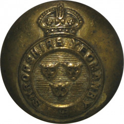 Shropshire Yeomanry 19mm with King's Crown. Brass Military uniform button