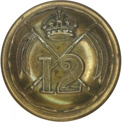 12th Royal Lancers (Prince Of Wales's) 22mm with King's Crown. Brass Military uniform button