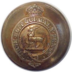 Royal Warwickshire Regiment - Garter 25.5mm - Post-1935 with King's Crown. Brass Military uniform button