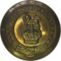 15th/19th King's Royal Hussars (No Scroll Below) 21mm - 1922-1952 with King's Crown. Brass Military uniform button