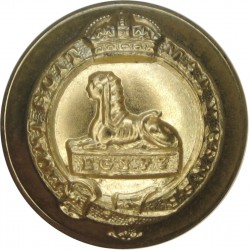 Manchester Regiment 25.5mm - Gold Colour with King's Crown. Anodised Staybrite military uniform button