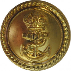 Royal Navy - Officers (Roped Rim) For Mess Waistcoat 17mm - Short Loop with King's Crown. Gilt Military uniform button